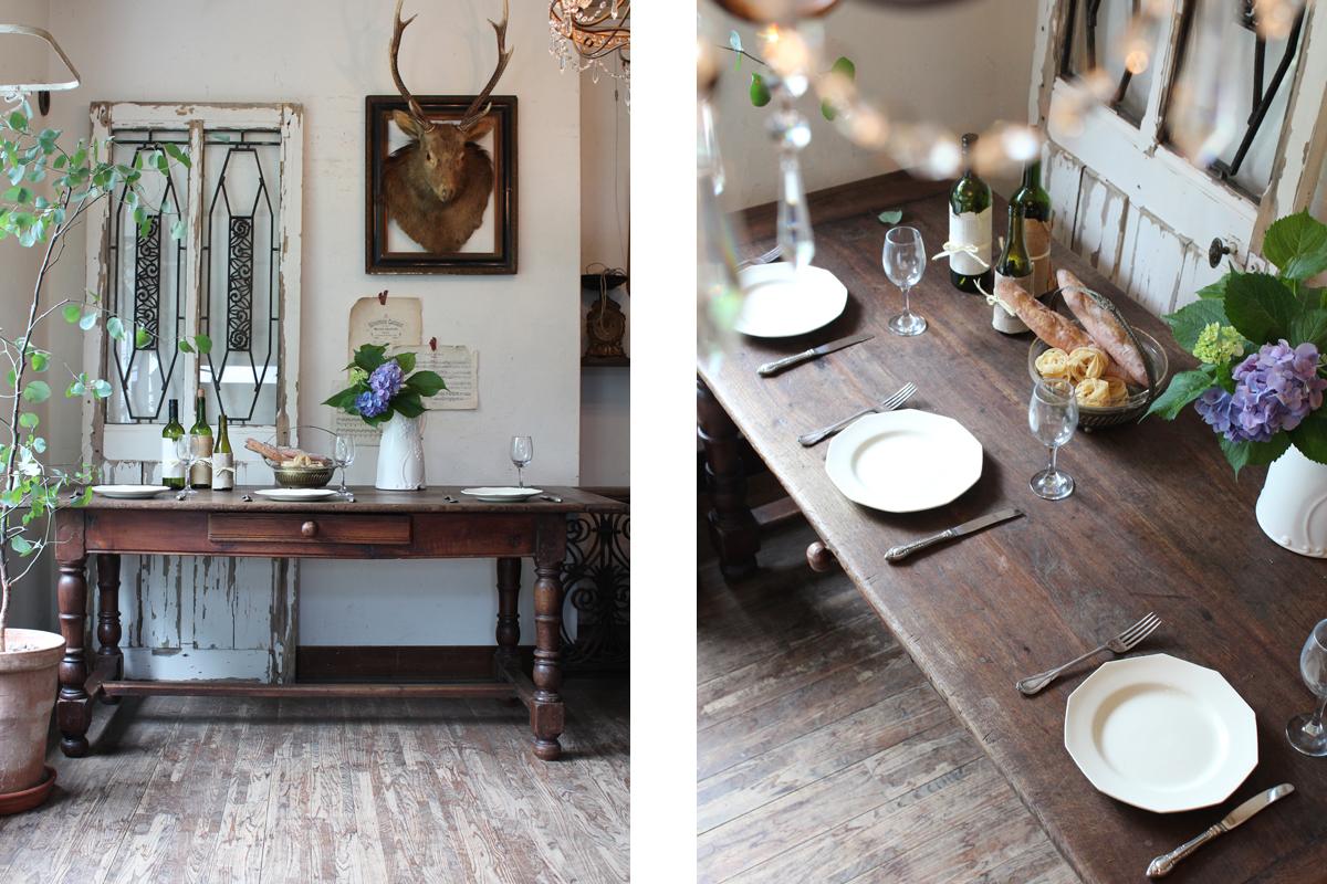 ダイニングテーブル,オーク材テーブル,アンティークテーブル