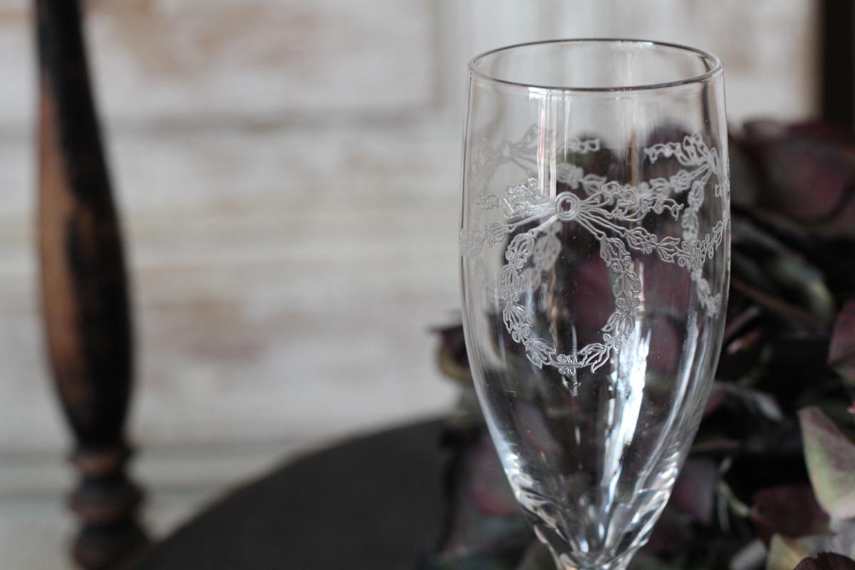 フランスブロカント グラビール加工 グラス