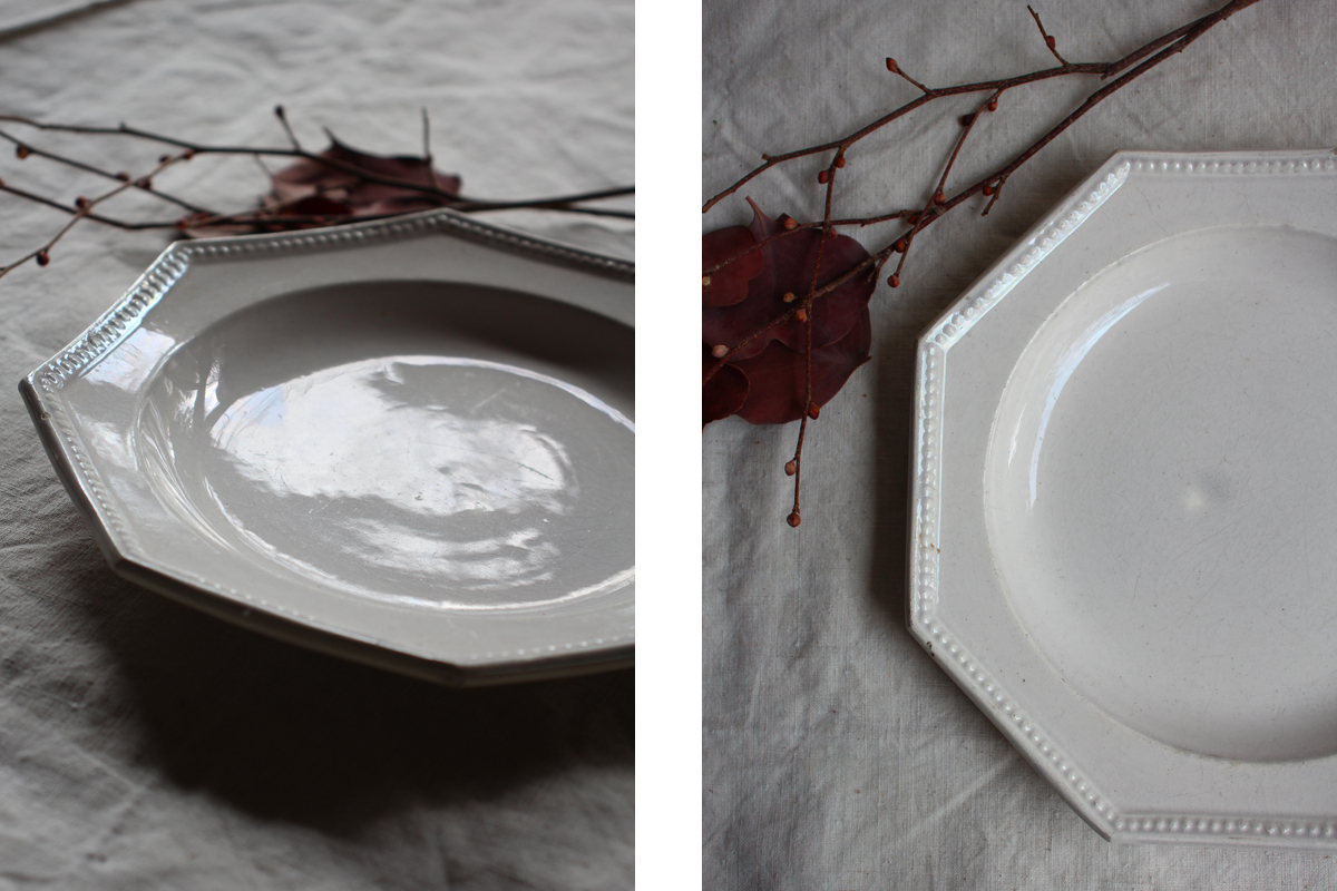全国送料無料 オクトグナル 八角皿 デザート皿 フランスアンティーク