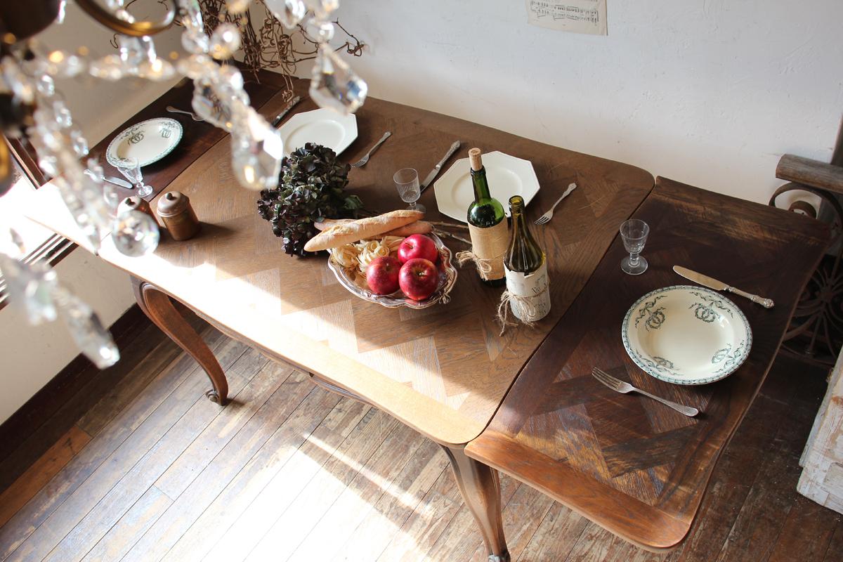 フランスアンティーク ドローリーフテーブル エクステンションテーブル