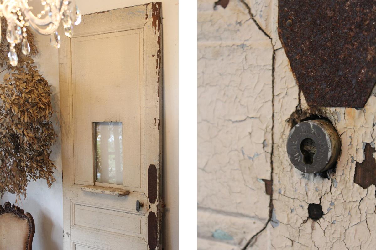 フランスアンティーク ペイントの剥がれた ペイントドア