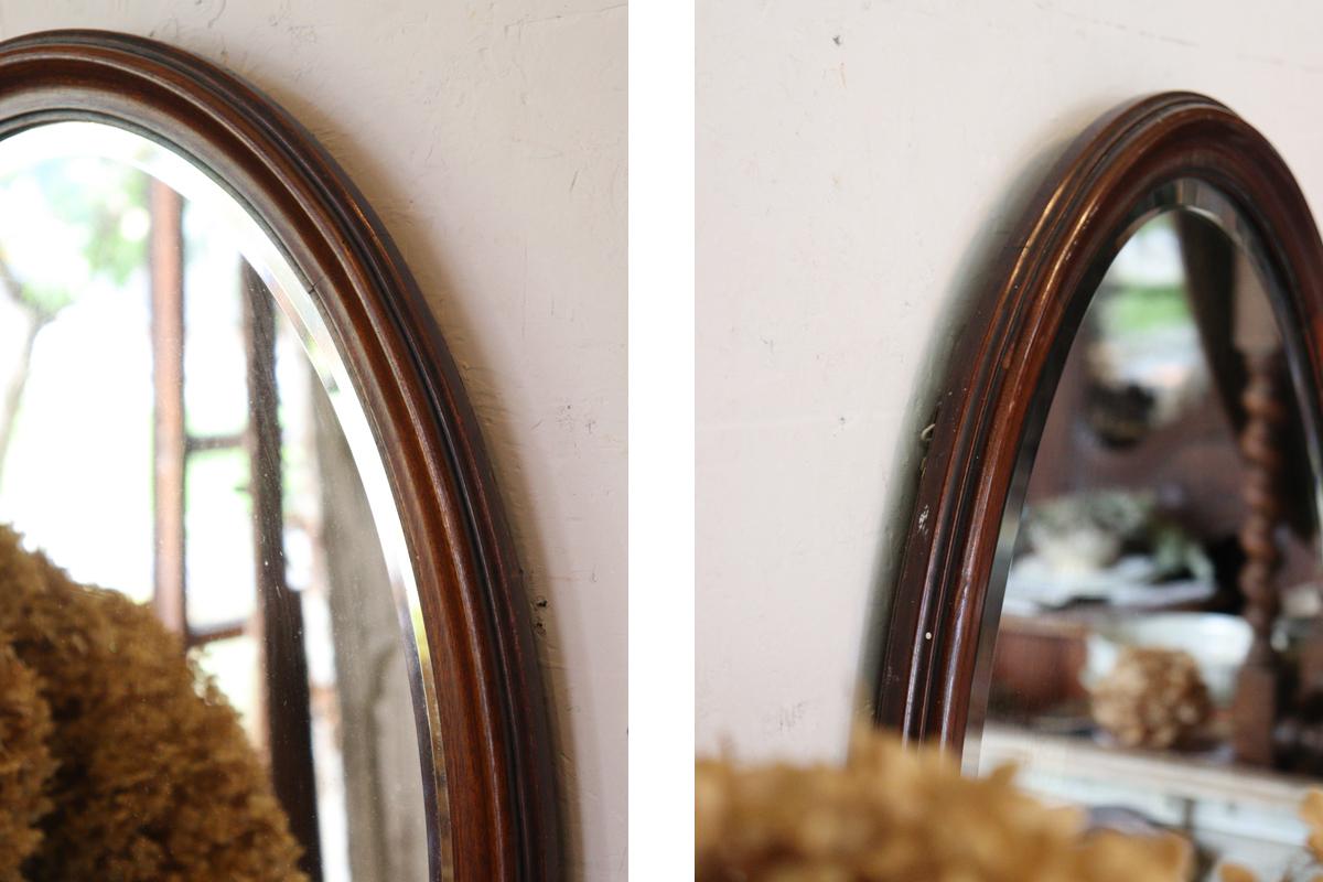 古い鏡 オーバルウォールミラー 全国送料無料