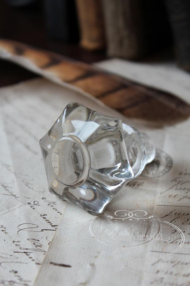 フランスの古いガラスの持ち手・パーツ