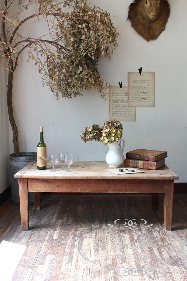フランスアンティーク チェリー材 ローテーブル