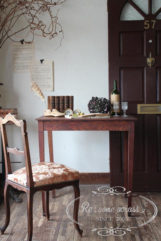 フランスブロカント ブラウンデスク 机 作業台