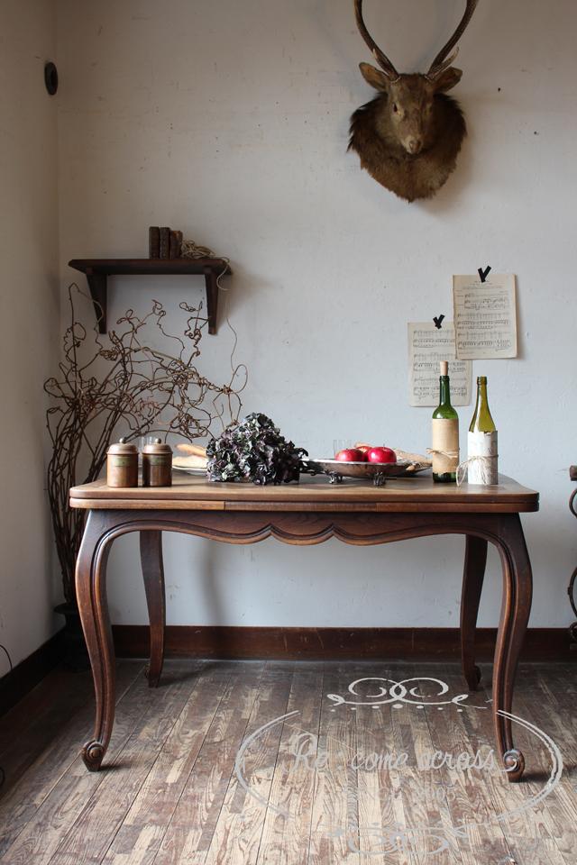 フランスアンティーク ドローリーフテーブル 拡張式テーブル エクステンションテーブル