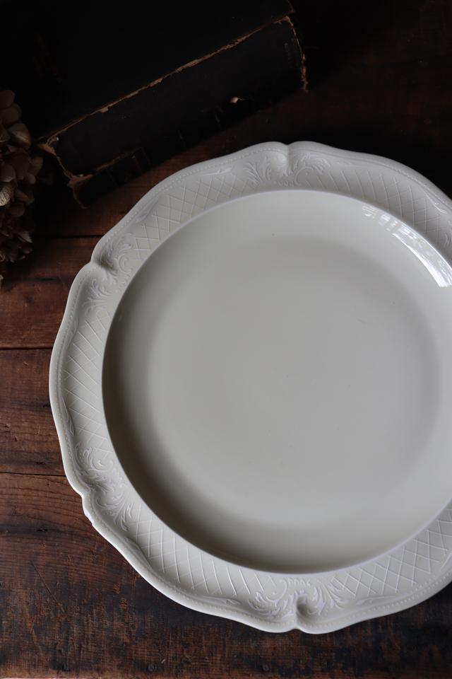 フランスBrocante ANCIENNE FABRIQUE ROYALE LIMOGES FRANCE リモージュ磁器 大皿 平皿