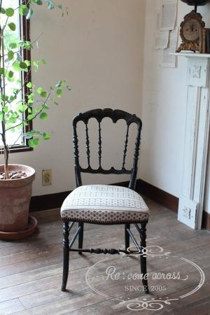 フランスアンティーク ブラックフレームナポレオンチェア 椅子②