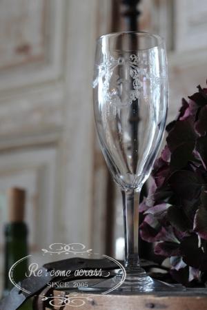 フランスブロカント リボンモチーフ グラビール加工 グラス