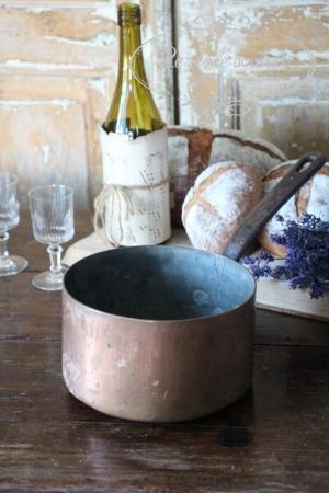 フランスブロカント 銅鍋 片手鍋