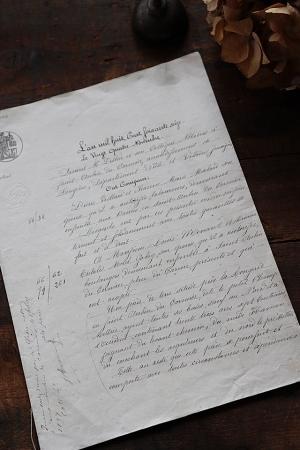 フランスアンティーク ペーパー 書類 1876年