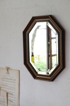 日本の古い 壁掛け木製ミラー 八角ミラー 鏡