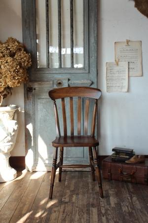 国アンティークスタイル オーク材 スラットバックチェア キッチンチェア 椅子