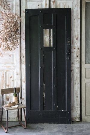 イギリスの古い ブラック×ホワイト 吹きガラスの入ったペイントドア 建具