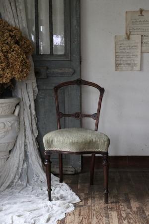 フランスアンティーク グリーンのファブリックシート フレンチチェア 椅子