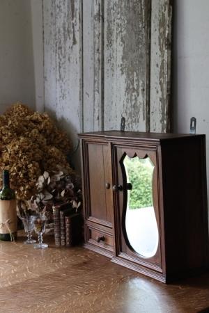 フランスBrocante ミラー付き小振りな木製ケース 収納