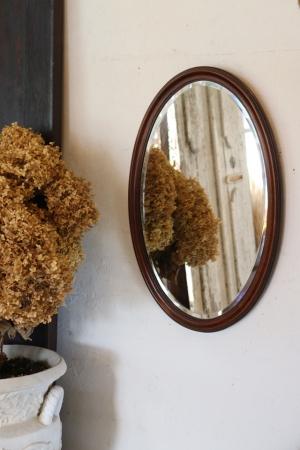 フランスBrocante 木製フレーム オーバルミラー 鏡