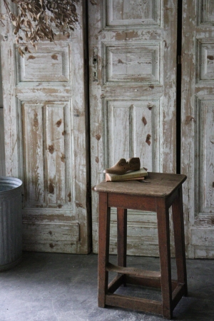 イギリスの古い シンプルな木製スツール 椅子