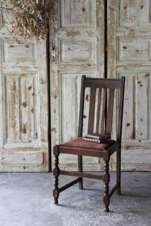 イギリスの古い ファブリックの座面 ダイニングチェア 椅子